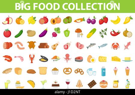 Big set icons food, flat style. Fruits, vegetables, meat, fish, bread, milk, sweets. Meal icon isolated on white - Stock Photo