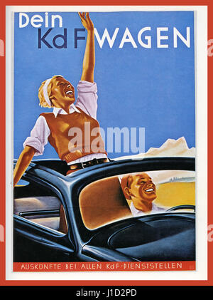 Propaganda poster 1930's Germany Volkswagen with 'Kraft Durch Freude' KdF-WAGEN  (strength through joy) open-top - Stock Photo