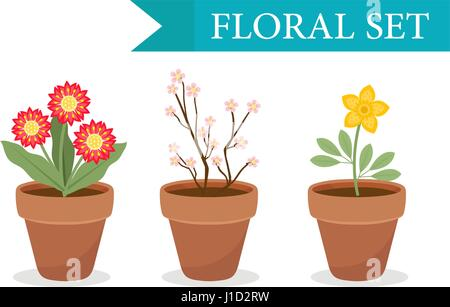 Flower pot with different flowers set, flat style. Flowerpot Collection isolated on white background. Vector illustration, - Stock Photo