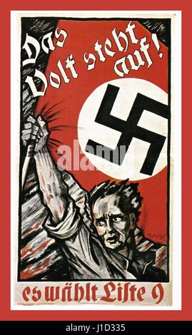 1930's German Nazi propaganda poster for The National Socialist Party saying 'Only Adolf Hitler can save us from - Stock Photo