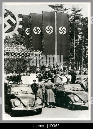 German propaganda image May 26th 1938 foundation stone laying ceremony at Fallersleben Wolfsburg Volkswagen factory - Stock Photo