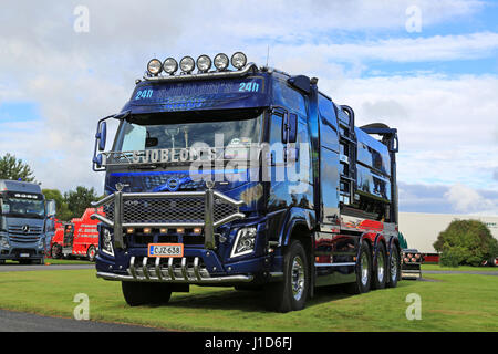 ALAHARMA, FINLAND - AUGUST 12, 2016: Blue Volvo FMX Vacuum truck of Sjobloms Tankservice Kb customized with chrome - Stock Photo