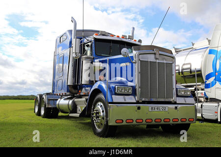 ALAHARMA, FINLAND - AUGUST 12, 2016: Classic blue Kenworth W900 semi truck on display on the annual trucking event - Stock Photo