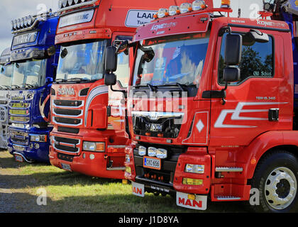 ALAHARMA, FINLAND - AUGUST 12, 2016: Group of MAN and Scania show trucks displayed on the annual Power Truck Show - Stock Photo