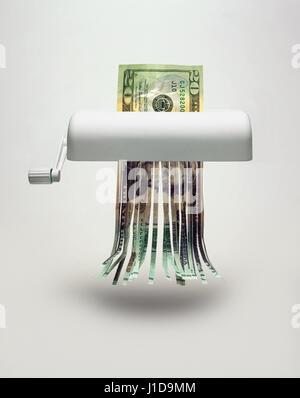 us dollar being shredded - Stock Photo