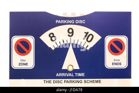 Parking Disc zone display card for car - Stock Photo