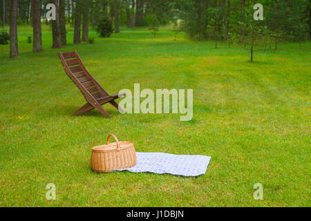 Picnic basket with blue white checkered napkin on grass. Summertime park in the background - Stock Photo