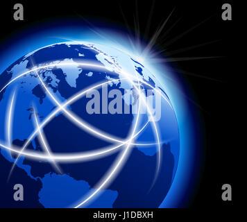 Global World with Communications around the Globe - Stock Photo
