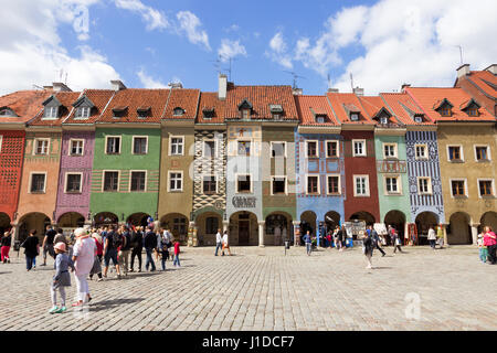 POZNAN, POLAND - AUG 20, 2014: Colorfull houses on the central square in Poznan, Poland. The city is the 4th largest - Stock Photo