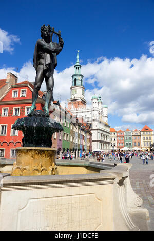 POZNAN, POLAND - AUG 20, 2014: Orpheus statue on the colorful main square in Poznan. - Stock Photo