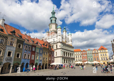 POZNAN, POLAND - AUG 20, 2014: Colorful main square and town hall of Poznan in Poland. - Stock Photo