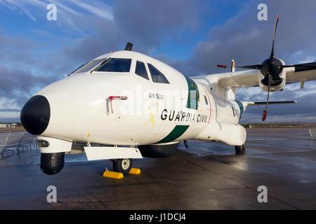 TORREJON, SPAIN - OCT 11, 2014: Spanish Guardia Civil Casa CN-235 patrol aircraft. - Stock Photo