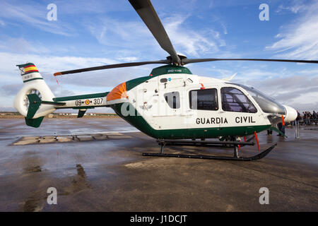 TORREJON, SPAIN - OCT 11, 2014: Spanish Guardia Civil Eurcopter EC-135 helicopter - Stock Photo
