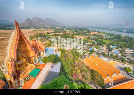 Ariel view temple with landscape in Kanchanaburi, Thailand - Stock Photo