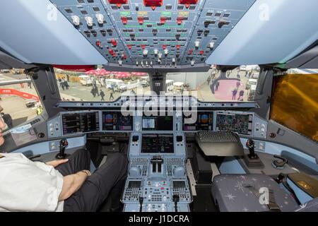 PARIS - LE BOURGET - JUN 18, 2015: Qatar Airways Airbus A350 XWB airplane cockpit. - Stock Photo