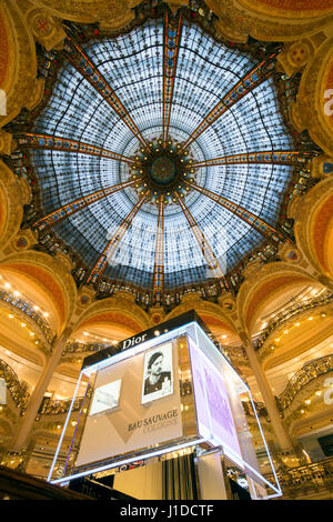 PARIS, FRANCE - JUNE 18, 2015: Interior of the Galeries Lafayette in Paris. The architect Georges Chedanne designed - Stock Photo