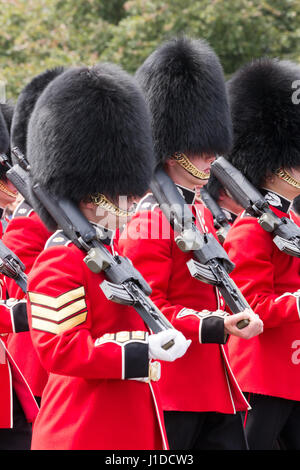 LONDON - JUL 1, 2015: British Royal guards performing the Changing of the Guard at Buckingham Palace. The ceremony - Stock Photo