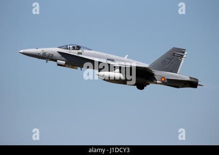 ZARAGOZA, SPAIN - MAY 20,2016: Spanish Air Force F-18 Hornet fighter jet plane taking off from Zaragoza airbase. - Stock Photo