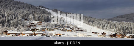 Snow covered ski piste in the European Alps. Flachau, Austria - Stock Photo