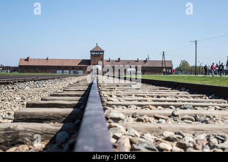 Rail level view of Birkenau concentration camp in Poland - Stock Photo