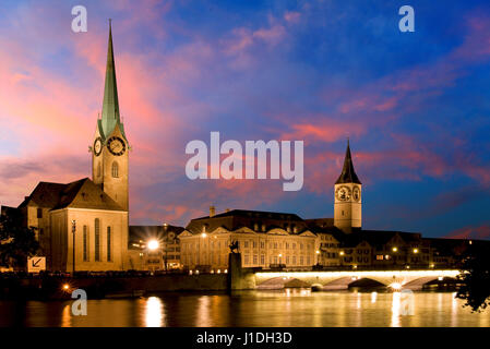 The night view of the Fraumunster in Zurich - Stock Photo