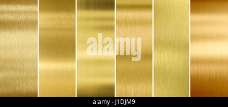 Gold or brass brushed metal textures set - Stock Photo
