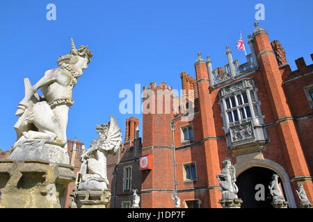 LONDON, UK - APRIL 9, 2017: The West front and main entrance of Hampton Court Palace in Southwest London with details - Stock Photo