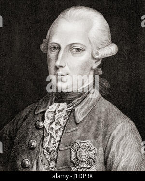 Joseph II, 1741 – 1790.  Holy Roman Emperor and ruler of the Habsburg lands.  From Hutchinson's History of the Nations, - Stock Photo