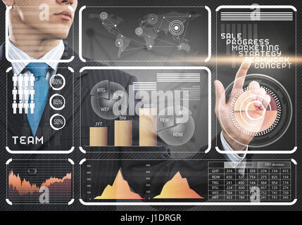 Hand of businessman pressing with finger icon on media screen - Stock Photo