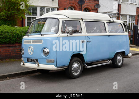 A vintage VW camper van from the year 1971 parked on a suburban street in Chester UK - Stock Photo