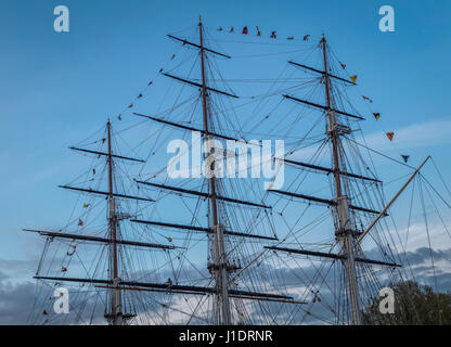 Rigging of the Cutty Sark Tea Clipper in Greenwich London - Stock Photo