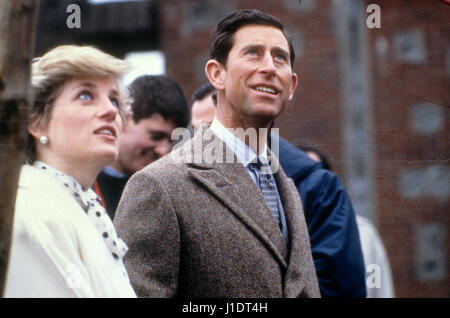 Prince Charles and Princess Diana March 7th 1987 Ackers Trust Birmingham - Stock Photo