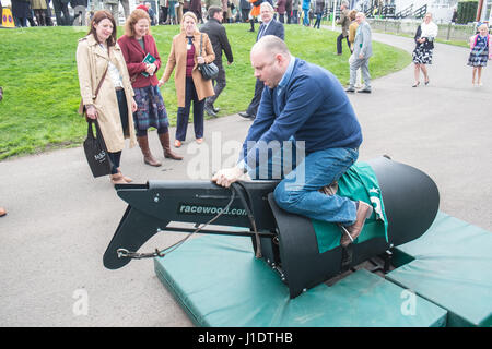 Horse,riding,machine,Aintree,Grand National,Liverpool,Merseyside,England,City,Northern,North,England,English,UK.,U.K.,Britain,GB, - Stock Photo