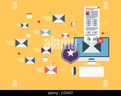 Computer with antivirus for protection, security and blocking of receiving spam by email. Spam blocker. Email protection - Stock Photo