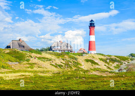 Lighthouse on sand dune in Hornum village on southern coast of Sylt island, Germany