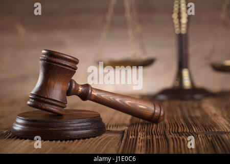 Law concept. Lawyers office. Mallet of the jugde. Scale of justice. - Stock Photo