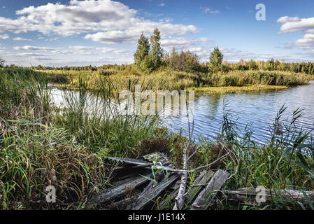 Lake near 'Emerald' recreation base in Chernobyl Nuclear Power Plant Zone of Alienation around nuclear reactor disaster, - Stock Photo