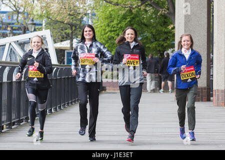 London, UK. 20th Apr, 2017. L-R: Charlotte Purdue, Susan Partridge, Jo Pavey and Alyson Dixon. Photocall with the - Stock Photo