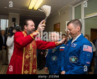 Baikonur, Kazakhstan. 20th Apr, 2017. American astronaut Jack Fischer, right, receives the traditional blessing - Stock Photo
