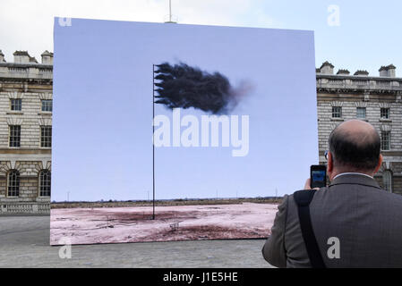 London, UK.  20 April 2017.  Unveiling at Somerset House of 'Western Flag' (Spindletop, Texas) 2017 by artist John - Stock Photo