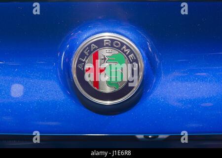 Badge Logo For The Alfa Romeo Cars Manufacturers Stock Photo