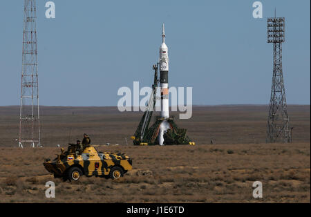 Baikonur Cosmodrome. 20th Apr, 2017. Russia's Soyuz MS-04 spacecraft is seen before launch at Baikonur cosmodrome - Stock Photo