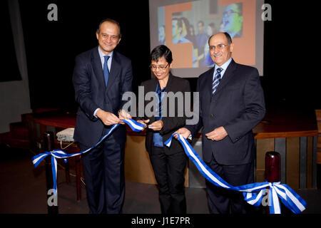 The Spanish Ambassador to Honduras, Miguel Albero (L), the Honduran Minister of Education, Rutilia Calderon (C) - Stock Photo
