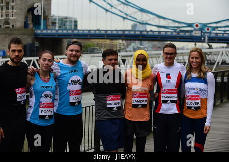Tower Hotel, London UK. 21st April 2017. Special runners photocall outside Tower Hotel. Credit: Malcolm Park/Alamy - Stock Photo