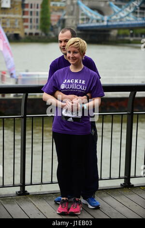 Tower Hotel, London UK. 21st April 2017. Special runners photocall outside Tower Hotel. Photo: Bride to be Jackie - Stock Photo