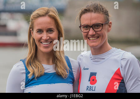 London, UK. 21st Apr, 2017. Heather Stanning and Helen Glover - special runners with a #ReasonToRun in the 2017 - Stock Photo