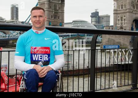 London, UK. 21st Apr, 2017. David Weir attending the Wheelchair Athletes photo call for London Marathon near Tower - Stock Photo
