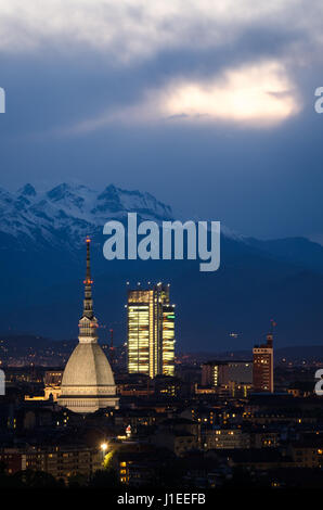 Torino, blue hour panorama with Mole Antonelliana - Stock Photo