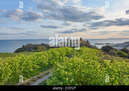 The view of Hastings Castle from Castle Hill, East Sussex, England, UK, Britain, GB, with the pier and Beachy Head - Stock Photo
