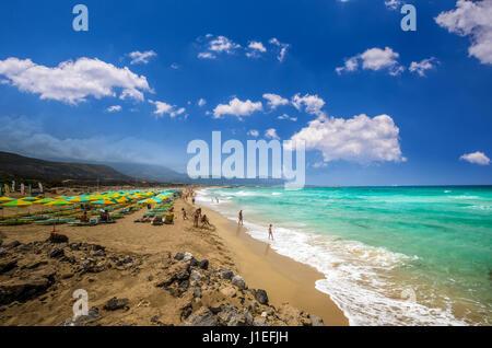 Falasarna beach, Crete island, Greece. Falassarna is one of the best beaches in Creta - Stock Photo
